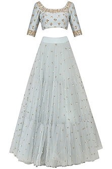 Ice Blue Sequins Embroidered Lehenga and Blouse Set by Mrunalini Rao