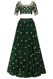 Forest Green Sequins Embroidered Lehenga and Blouse Set by Mrunalini Rao