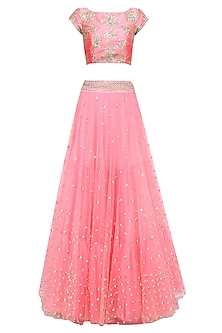 Baby Pink Floral Embroidered Lehenga Set with Pista Green Dupatta