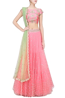 Baby Pink Floral Embroidered Lehenga Set with Pista Green Dupatta by Mrunalini Rao