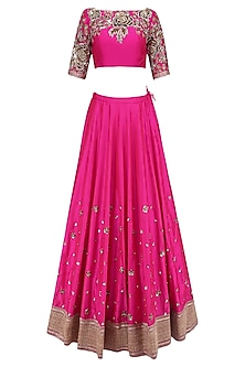 Rni Pink Floral Sequins Embroidered Lehenga Set with Off White Dupatta