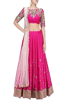 Rni Pink Floral Sequins Embroidered Lehenga Set with Off White Dupatta by Mrunalini Rao