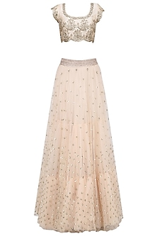 Off White Floral Sequins Embroidered Lehenga Set with Peach Dupatta by Mrunalini Rao