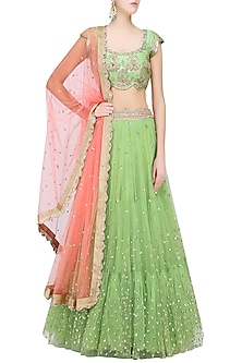 Pista Green Floral Sequins Embroidered Lehenga Set with Peach Dupatta by Mrunalini Rao