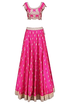 Pink Floral Bootis Embroidered Lehenga Set with Light Pinkdupatta