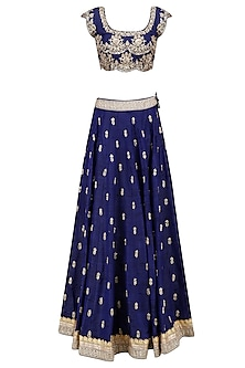 Navy Blue Floral Bootis Sequins Embroidered Lehenga Set with Aqua Blue Dupatta