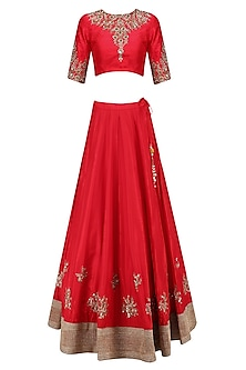 Red Floral Motifs Embroidered Lehenga Set with Off White Dupatta by Mrunalini Rao
