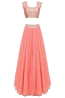 Peach Floral Embroidered Lehenga Set with Off White Dupatta