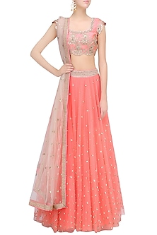 Peach Floral Embroidered Lehenga Set with Off White Dupatta by Mrunalini Rao