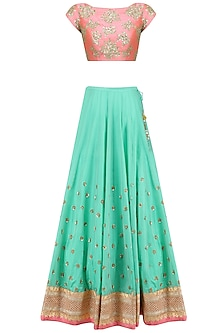Sea Green Floral Bootis Embroidered Lehenga Set with Peach Dupatta