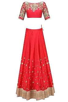 Red Floral Zardozi Embroidered Lehenga Set with Off White Dupatta