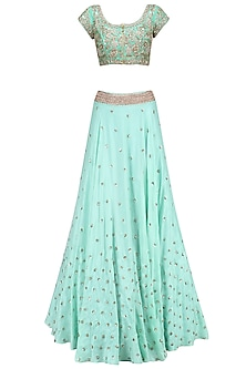 Aqua Blue Floral Sequins Embroidered Lehenga Set with Baby Pink Dupatta
