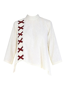 Pale Yellow and Red Arrow Applique Work Flared Top