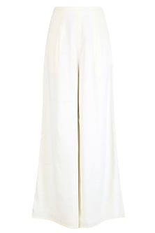 Pale Yellow Flared Pleated Pants
