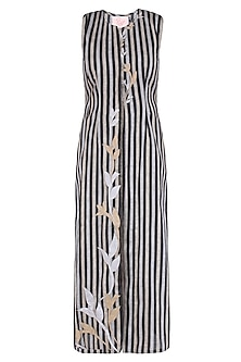 Black Floral Applique Work Striped Sleeveless Tunic