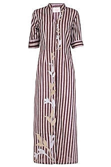 Maroon Floral Applique Work Striped High Slit Tunic