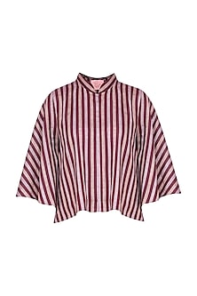Maroon Striped Bell Sleeves Flared Top