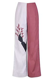 Grey and Maroon Floral Applique Work Pants