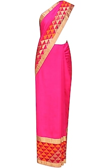 Rani pink and golden geometric pattern handwoven saree
