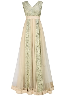 Golden floral work pleated long dress