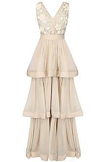 Nude 3D floral long dress