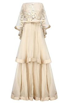 Nude long embroidered cape dress