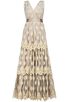 Dark brown embroidered long dress