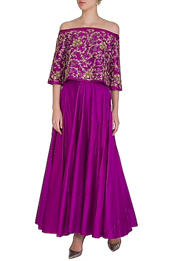 Purple Embroidered Off Shoulder Top With Lehenga Skirt by Samatvam By Anjali Bhaskar