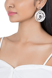 Silver Plated Textured Circle Earrings