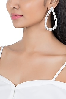 Silver Plated Textured Drop Earrings