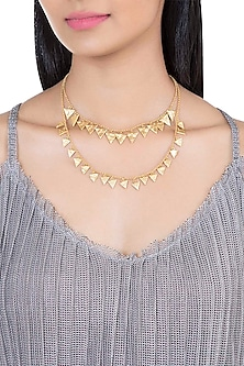 Gold Plated Textured Layered Necklace