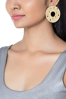 Gold Plated Textured Round Earrings