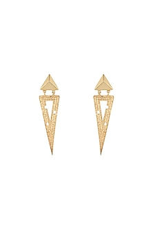 Gold Plated Textured Earrings by Flowerchild By Shaheen Abbas