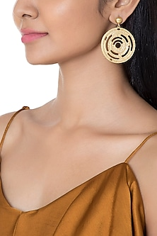 Gold Plated Textured Circle Earrings