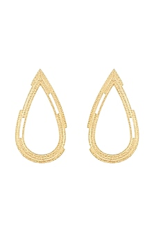 Gold Plated Textured Drop Earrings by Flowerchild By Shaheen Abbas