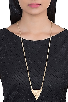 Gold Plated Textured Long Necklace