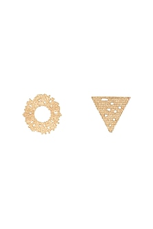 Gold Plated Textured Mismatch Stud Earrings by Flowerchild By Shaheen Abbas