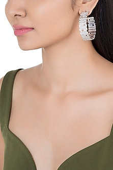 Silver Plated Textured Big Hoop Earrings by Flowerchild By Shaheen Abbas