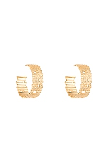 Gold Plated Textured Hoop Earrings by Flowerchild By Shaheen Abbas