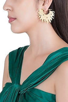 Gold Plated Textured Spiked Hoop Earrings by Flowerchild By Shaheen Abbas