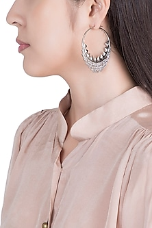 Silver Plated Textured Balis Earrings by Flowerchild By Shaheen Abbas