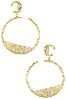 Gold Plated Hoop Earrings by Flowerchild By Shaheen Abbas