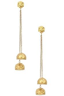 Gold Plated Jhumki Drop Earrings by Flowerchild By Shaheen Abbas