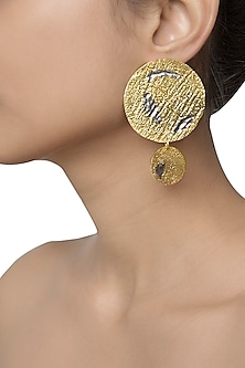 Gold Plated Mismatch Detailing Earrings by Flowerchild By Shaheen Abbas