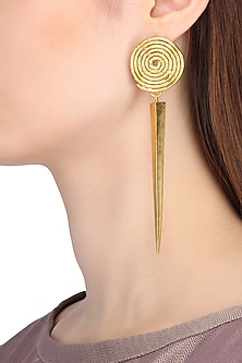 Gold Plated Spiral Detailing Earrings by Flowerchild By Shaheen Abbas