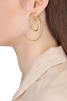 Gold Plated Spiral Earrings by Flowerchild By Shaheen Abbas
