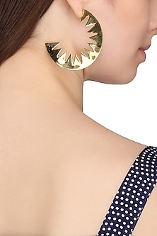Gold Plated Cresent Shaped Earrings by Flowerchild By Shaheen Abbas
