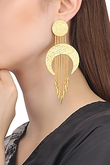 Gold Plated Cresent Shaped Drop Earrings by Flowerchild By Shaheen Abbas