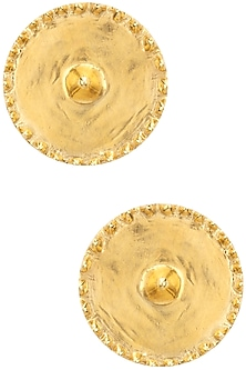 Gold Plated Round Stud Earrings by Flowerchild By Shaheen Abbas