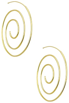 Gold Plated Spiral Hoop Earrings by Flowerchild By Shaheen Abbas